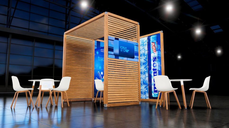 customized wood kiosk