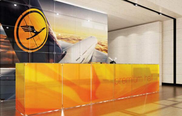 graphic reception glass